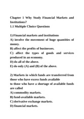 Chapter 1 Why Study Financial Markets and Institutions