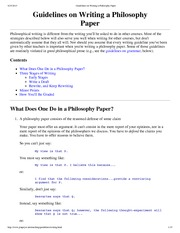 """Guidelines on Writing a Philosophy Paper"""