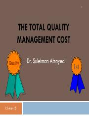QM THE TOTAL QUALITY MANAGEMENT COST