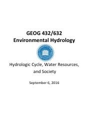 GEOG 432 632 Hydrologic Cycle, Water Resources, and Society