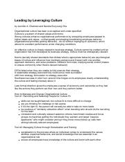 Notes - 05a Leading by Leveraging Culture