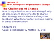 Week 11 - Organizational Learning and Change