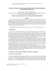 2013_Research of Matrix-based Grouping Method on Anti-collision Algorithm for RFID Tag Identificatio