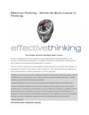 Effective Thinking - Online de Bono Course in Thinking.docx