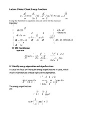 Lecture 3 Notes Classic Energy Functions
