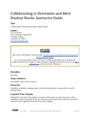 Collaborating to Determine and Meet Student Needs (Instructor Guide).docx