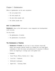 Chapter 1 Globalization_Class Notes