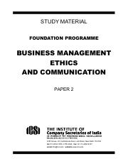 Business Management, Ethics and Communication (FndPrg)