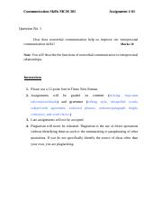 Communication Skills - MCM301 Special 2006 Assignment 01