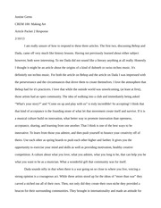 Making Art Article Packet Response Short Essay