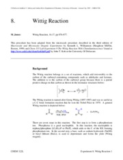 wittig lab report Report abuse transcript of wittig reactions investigate the effect of varying a particular variable on stereochemical outcome of wittig reaction.