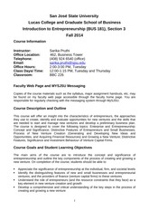 Sarika Pruthi BUS 181 Course Outline Fall 2014