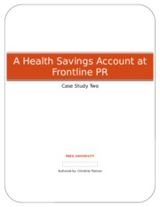 Health Savings Account at Frontline - Case Study Two - Christine Tiernan