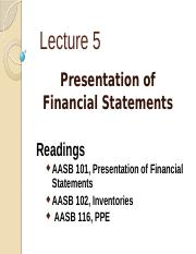 Lect 5 Presentation of Financial Statements