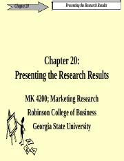 Chapter 20 Presenting Your Research Findings - marketing research.ppt