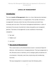 LEVELS OF MANAGEMENT_Assignment