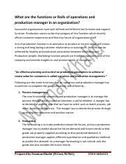 What are the functions or Rolls of operations and production manager in an organization