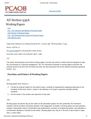 AU Section 339A - Working Papers