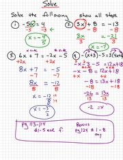 Solving Algebra Notes