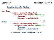 Chemistry 121 Lecture Molecular Bonding Theory