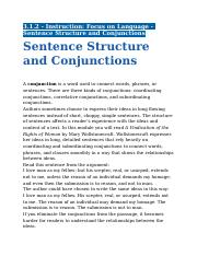 3.1.2 - Instruction - Focus on Language - Sentence Structure and Conjunctions.docx