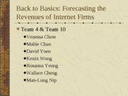 Forecasting the Revenues of Internet Firms