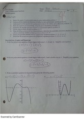 Polynomial Functions Exam Review With Solutions