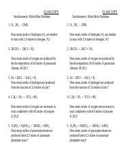 Stoichiometry Mole-Mole Problems Answer Key.pdf - i l I l ...