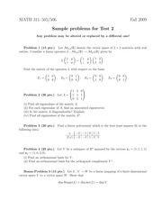 Sample Exam 2 on Topics in Applied Mathematics