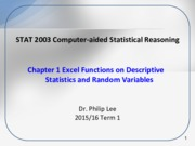 STAT2003 Ch1 Descriptive Statistics and Random Variables in Excel