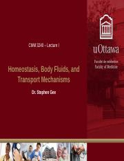Lecture I - Body Fluids, Homeostasis, and Transport Mechanisms