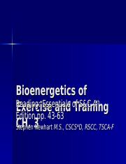 Ch. 3 Bioenergetics of Exercise and Training