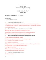 Study Guide Comm Leadership Final Exam-2
