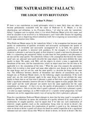 Prior - The Naturalistic Fallacy: The Logic Of Its Refutation