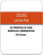 Lecture 5 Six principles of Good Workplace Communication Full Version