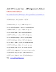 ACC 557 Complete Class - All Assignments & Quizzes