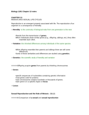 Biology 1201 Chapter 13 notes