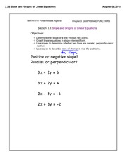 3.3 Slope and Graphs of Linear Equations