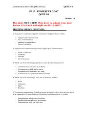 Communication Skills - MCM301 Fall 2007 Assignment 02