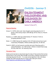 Seminar 5 - Childhood in the Enlightenment Period