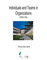 Class 1 Slides - Introduction to Organizational Behaviour