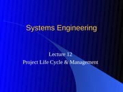 Lec 12 - Project Life Cycle