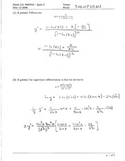 Math 121 Quiz 5 Version 2 Solutions