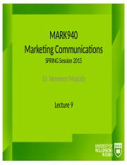 MARK940_Autumn2014_Lectures_Lecture_9.pptx