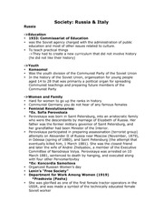 History - Society in Russia & Italy Lecture Notes