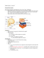 Athletic Injuries – Lecture 9