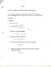 Chemistry- Rules for exponents