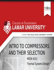 Week 3 Lecture 2 Compressor Selection.pptx