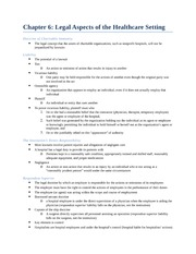 Legal Aspects of Healthcare Setting Notes