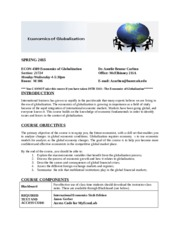 SPRING 2015 Economics of Globalization Syllabus